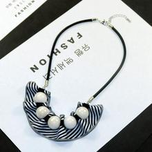 Costume Jewelry Bead Necklace Snake-Chain Pendants Black Geometric Women Big Ball Copper