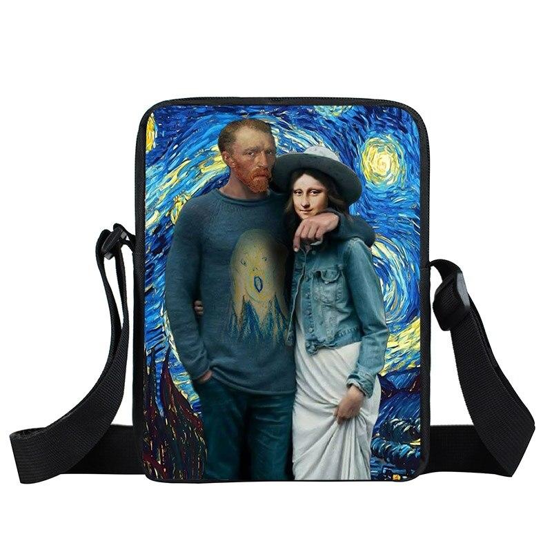 Drôle Van Gogh / Mona Lisa petit sac à bandoulière femmes sac à main mini sac de messager dame fourre-tout adolescent filles sacs à bandoulière