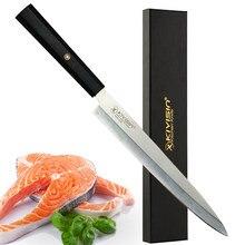 Couteau de Chef de cuisine japonais à manche antidérapant, couteau à Sushi en tranches de saumon, couteau à filet de poisson cru en acier inoxydable pour Sashimi de 9.5 pouces