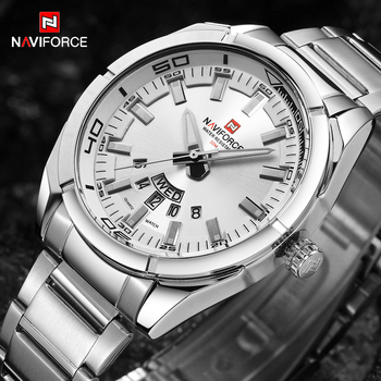 NAVIFORCE 2020 Fashion Casual Mens Watches Sport Quartz Waterproof Full Steel Military Men Watch Male Clock Relogio Masculino 2018 baogela men fashion casual leather band quartz watch male sport wristwatches waterproof watches relogio masculino
