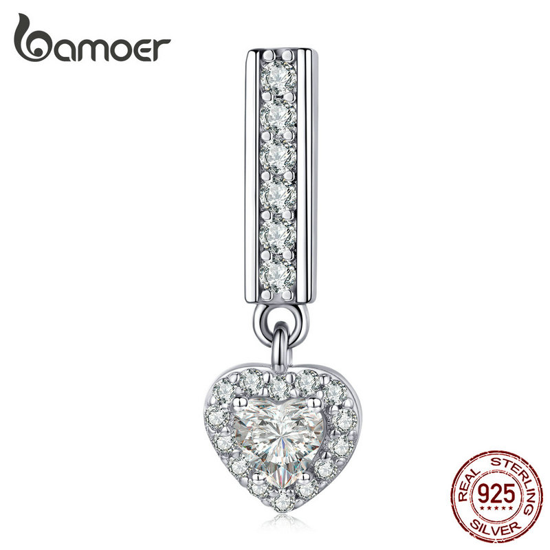 Bamoer Heart Pendant Charm Fit For Original Women Silver 925 Reflexions Watch Bracelets 925 Sterling Silver Jewelry SCX109