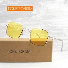 Toketorism womens fashion 2019 trendy sunglasses vintage metal frame yellow sun glasses 6453