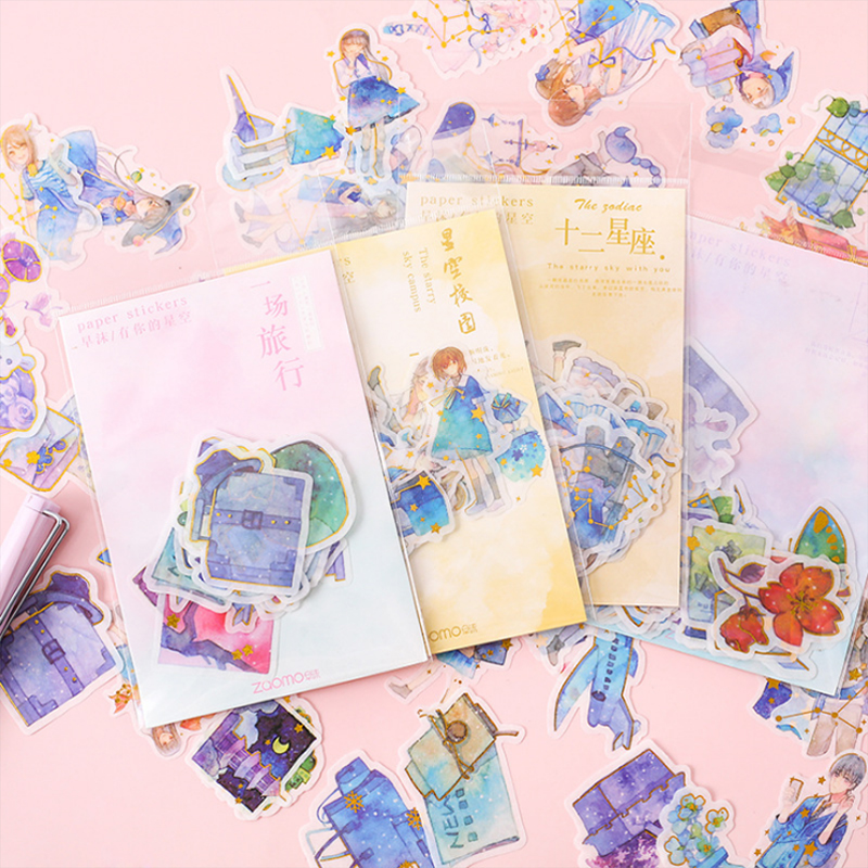 40 Pcs/bag Cute Cartoon Star Anime Mini Paper Sticker Decoration DIY Diary Scrapbooking Seal Sticker Kawaii Stationery