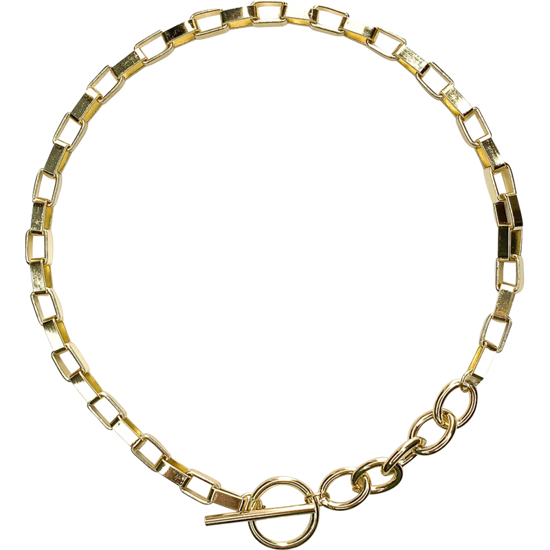 Peri'sBox Box Chain Toggle Clasp Gold Necklaces Mixed Linked Circle Necklaces for Women Minimalist Choker Necklace Hot Jewelry 5