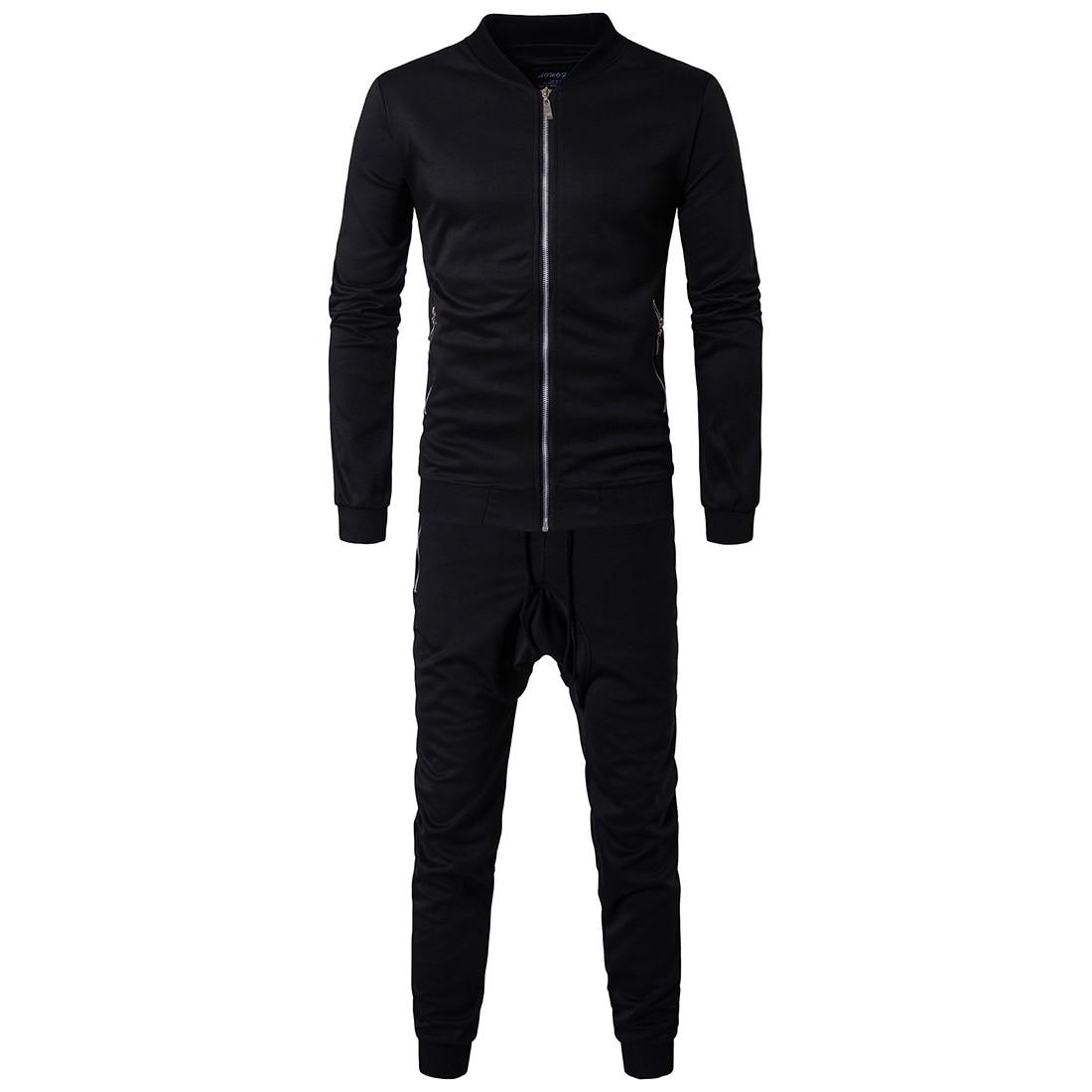 2017 Autumn Clothing New Style Men Hoodie Suit Sports Casual Solid Color Coat Leisure Suit Men's