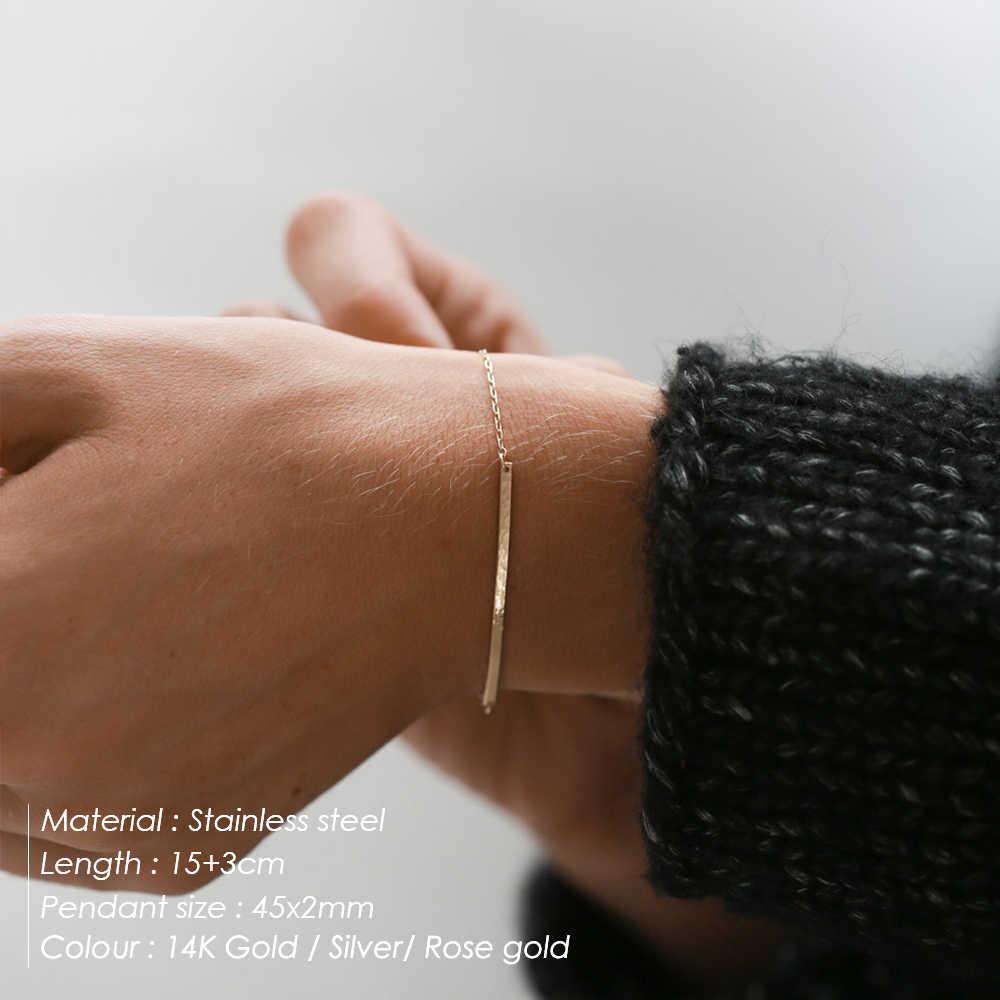 Laramoi บุคลิกภาพสร้อยข้อมือผู้หญิงยาวโลหะ Charm สร้อยข้อมือผู้หญิงสแตนเลสสตีล/เงินเครื่องประดับของขวัญ