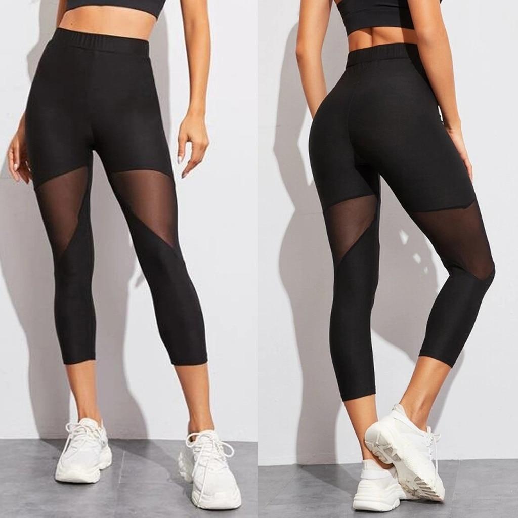 Fashion High Waist Women Leggings Solid Transparent Mesh Splice Fitness Workout Legging Slim Fit Cropped Pants Female For Sport
