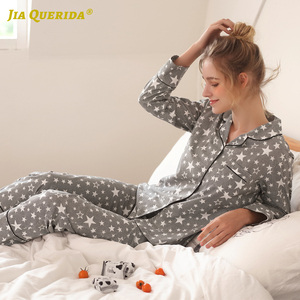 Image 5 - Couple New Pajamas Men 2020 Fashion Home Clothing Men And Women Cardigan Cotton Sleepwear Lapel Stars Print Sleepwear Pyjama Set