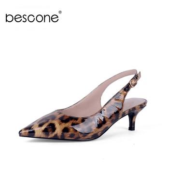 ¡Novedad! Zapatos de tacón fino de BESCONE con diseño de leopardo y puntiagudos, zapatos de tacón con hebilla BC636