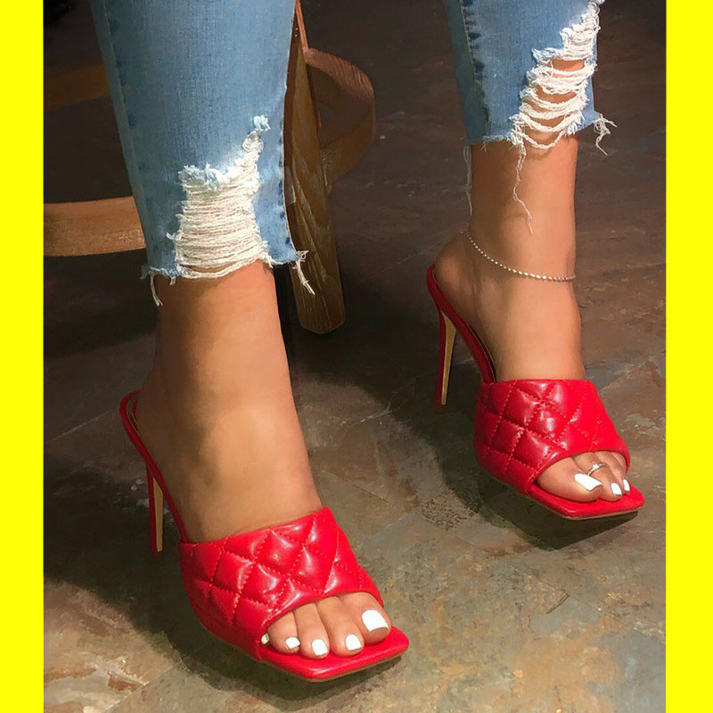 2020 Women Slippers High Heels Female Fashion Big Large Size Ladies Shoes Woman Sandals Slides Slippers Thin Heels Women's Pumps