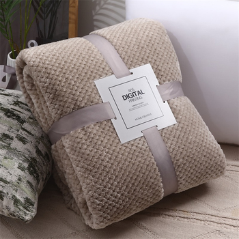 Super Soft Flannel Bedspread High Quanlity Sofa Throw Blanket Fleece Mesh Portable Car Travel Cover Christmas New Year Gift - discount item  45% OFF Home Textile