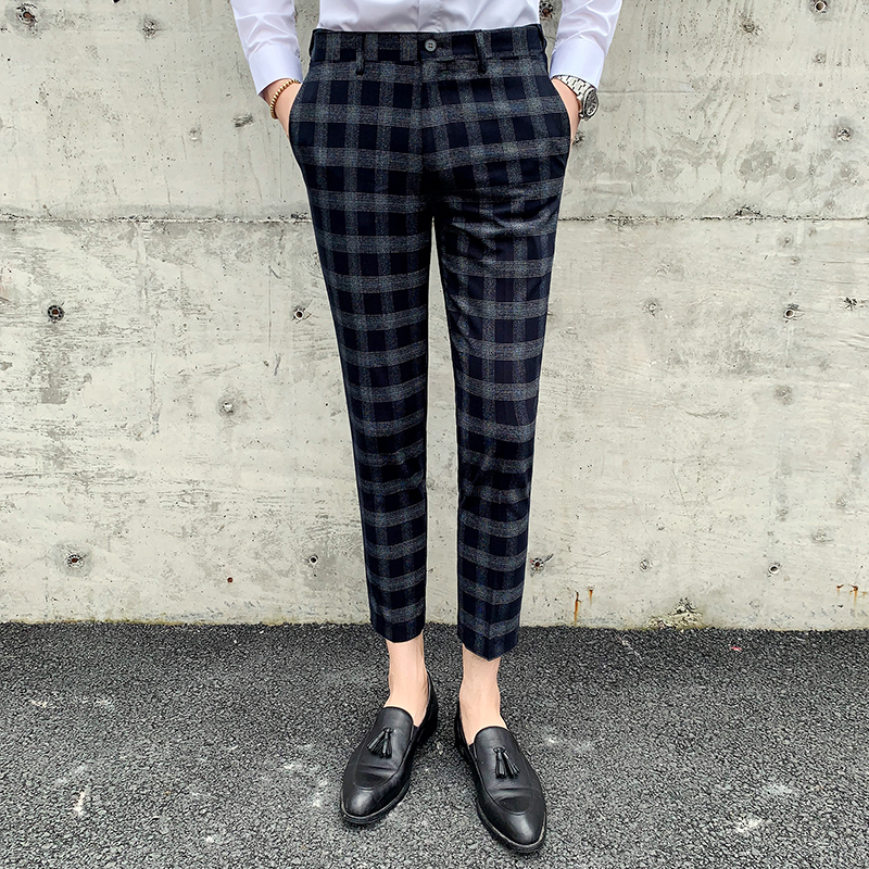 2019 Men's Fashion Boutique Plaid Formal Business Suit Pants Men's Wedding Dress Suit Pants Brand Men's Casual Trousers Male