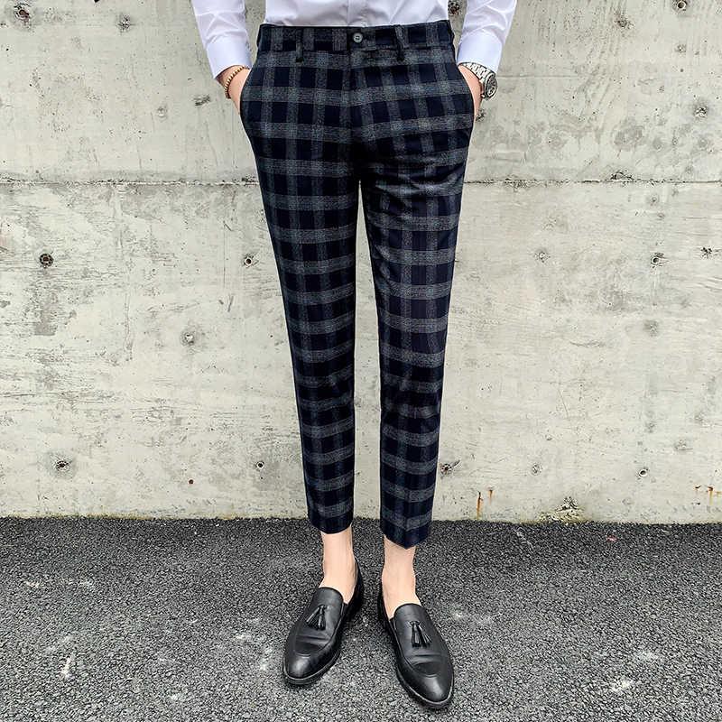 Pantalones De Negocios Formales A Cuadros Para Hombre Traje De Vestir De Boda Pantalones Informales De Marca Boutique Moda 2019 Pantalones De Traje Aliexpress