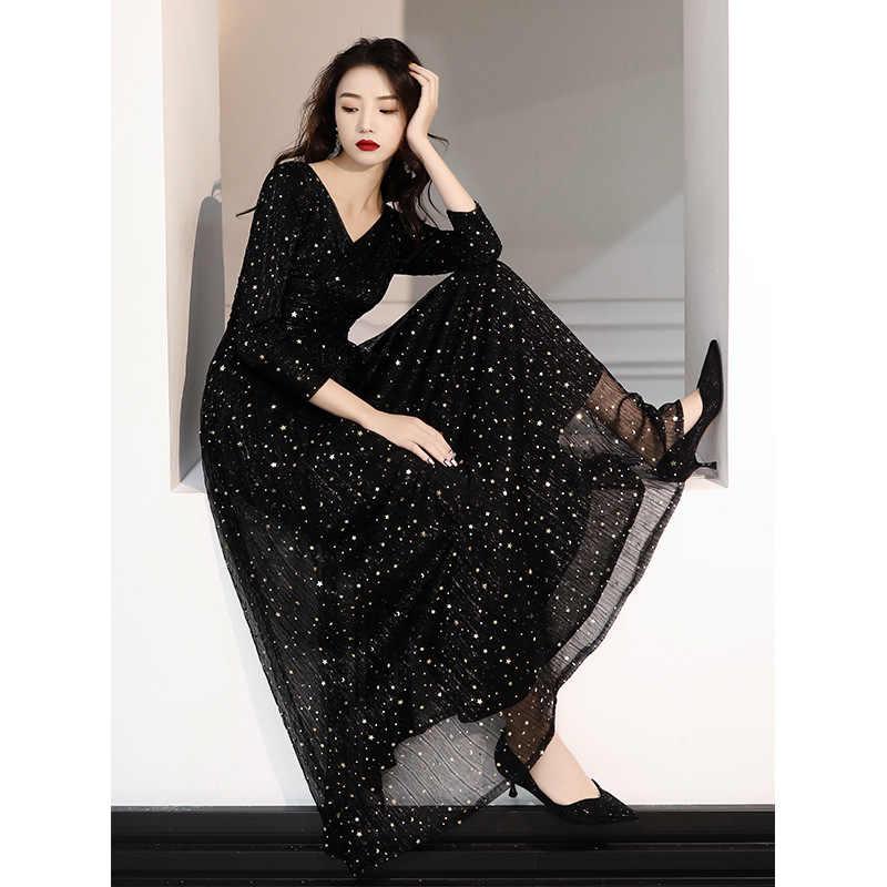 Vestido デ · フェスタ Gengli 宴会イブニングドレス女性 2020 新気質ロングセクシーなスタースカートハイエンド雰囲気ホストスリーブ