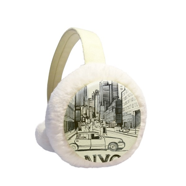NYC Love New York City America Landscape Winter Earmuffs Ear Warmers Faux Fur Foldable Plush Outdoor Gift