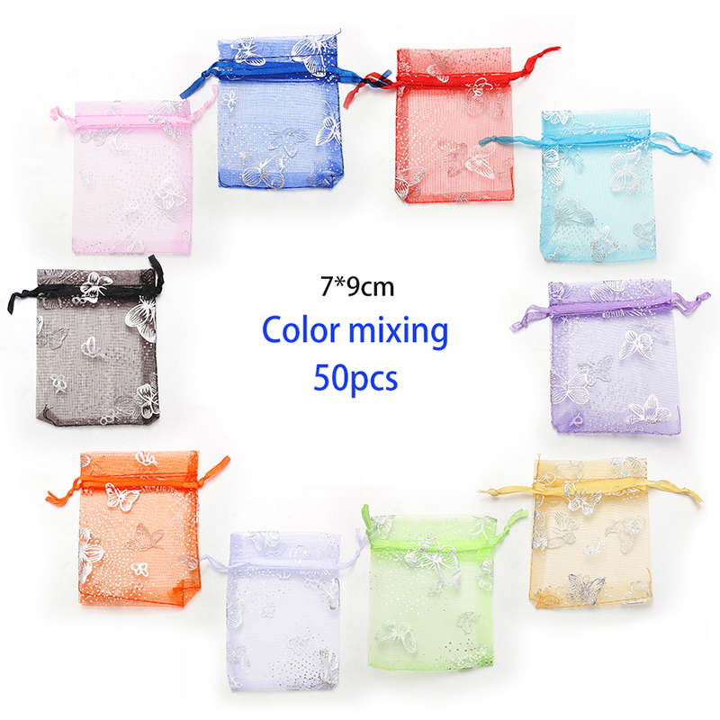 Solid Color & Print Organza Jewelry Bags Small Packaging Bags  Gift Bags For Jewelry 50pcs/lot Wholesale 7x9 Cm