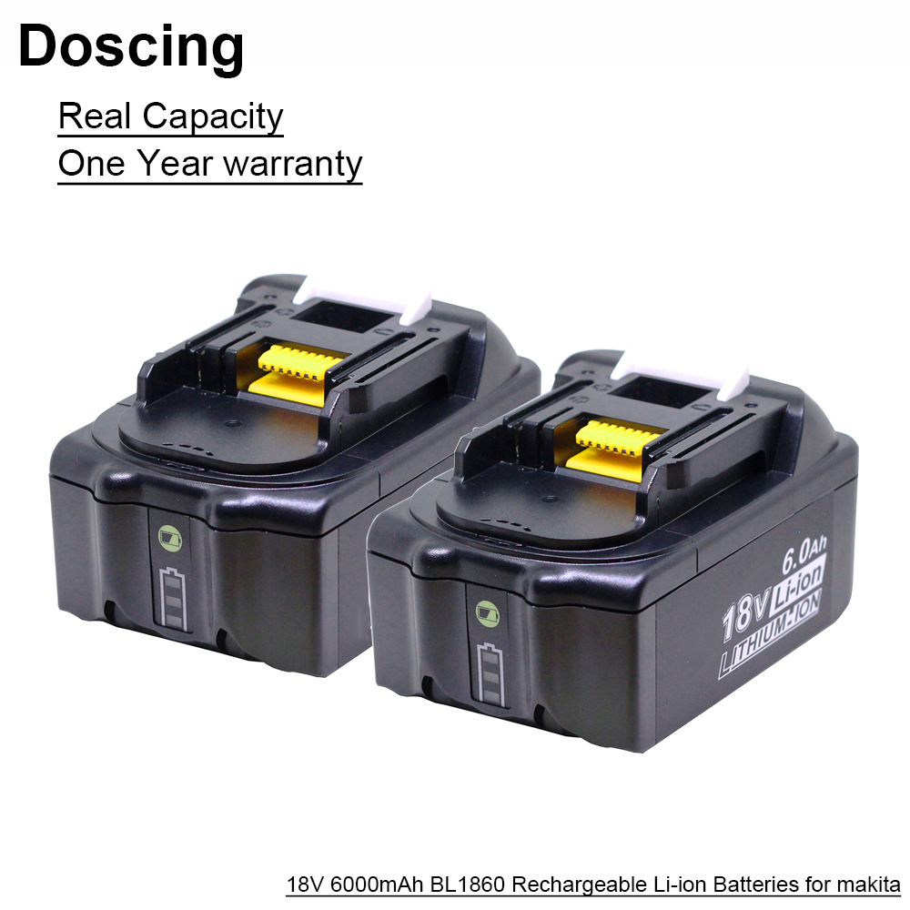 Doscing 18V 6000mAh BL1860 Replacement Batteries with LED Indicator for <font><b>Makita</b></font> BL1850 BL1840 BL1830 BL1850 <font><b>BL1820</b></font> Battery image