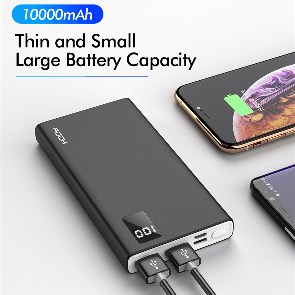 ROCK Power Bank 10000mAh Portable Charging PowerBank 10000 MAh USB PoverBank External Battery Charger For Xiaomi Mi 9 8 IPhone X