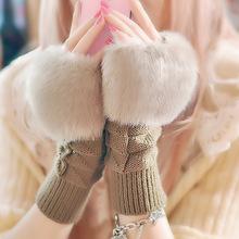 Zimowe śliczne ciepłe smart point na rękawiczki damskie pluszowe rękawiczki bez palców kreskówkowe rękawiczki z dzianiny rękawiczki na nadgarstki damskie sztuczne futro z lisa ciepłe rękawiczki tanie tanio ZAIQING WOMEN COTTON POLIESTER Adult Stałe DO NADGARSTKA moda TG36