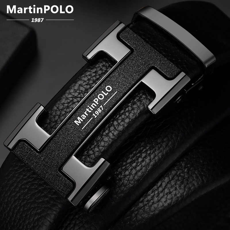 2020 MartinPOLO Famous Brand Belt Men Top Quality Genuine Luxury Leather Belts for Men Strap Male Metal Automatic Buckle Fashion