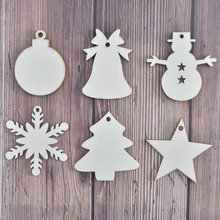 Happymems New Christmas Tree Snowflake Decoration DIY Unfinished Wood Stick Crafts Embellishments Laser Cut Wooden Craft