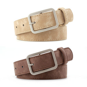 2020 2.8cm Wide Leather Waist Strap Belt Black Brown high quality Women Square Metal Buckle belts Ladies Female Belts for Jeans