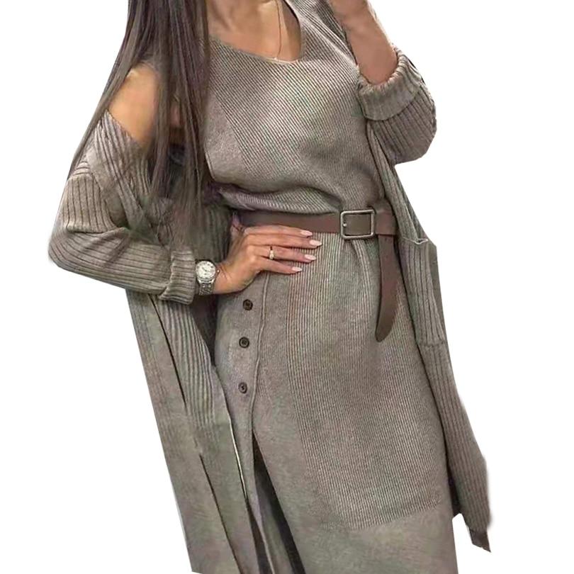 MVGIRLRU Autumn Women's  Dress Suit Knit Cardigan Loose Sweater Coat With Belt Two Piece Set