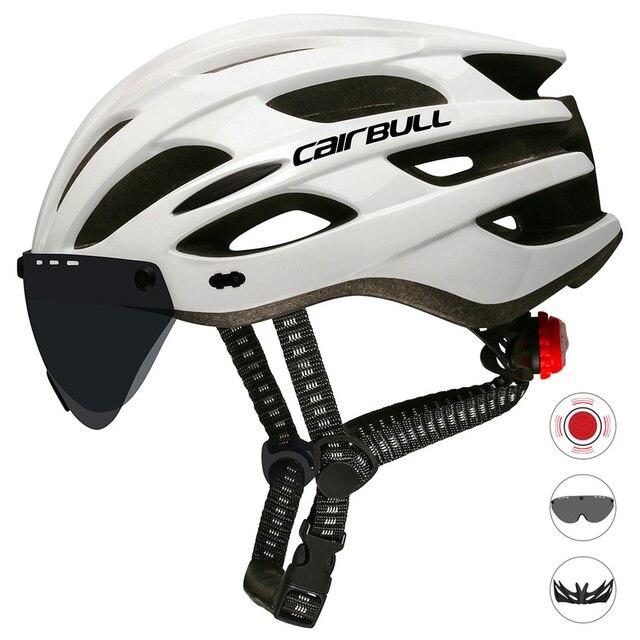 Ultraleve quente capacete de ciclismo com viseira removível óculos de bicicleta lanterna traseira intergrally-moldado mountain road bike mtb capacetes 2