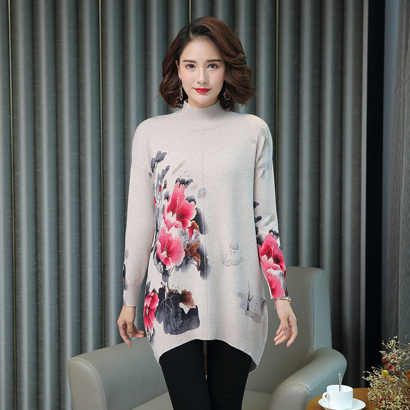 Women Autumn Cashmere Vintage Floral Sweater Elegant Middle Aged Mother Wool Sweater Pullover - 2