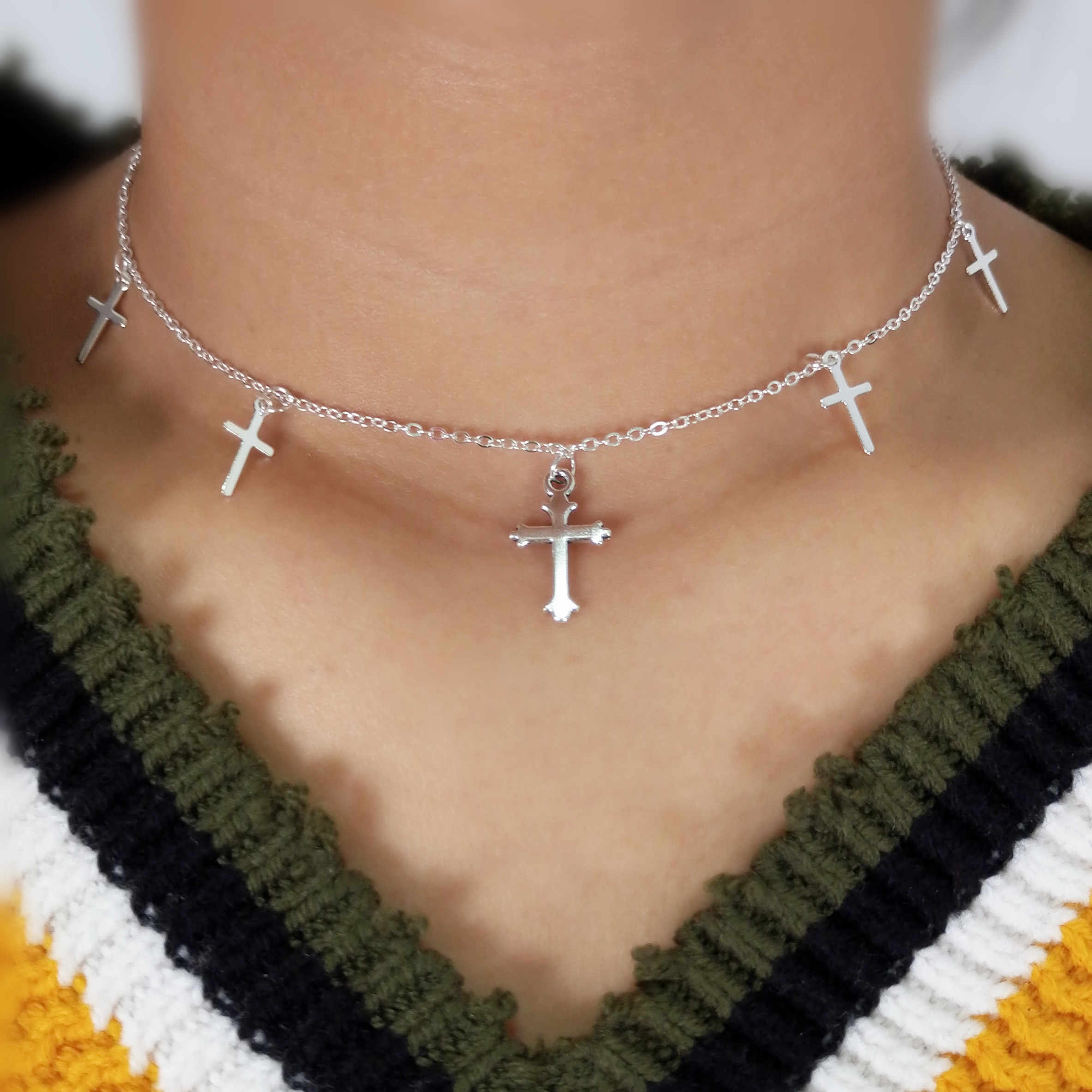 Silver Color Cross Necklaces & Pendants for Women Choker Clavicle Chain Jewelry Femme Bijoux Collares