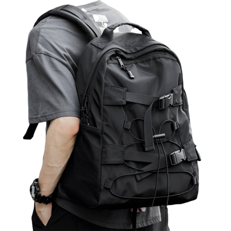 2020 Fashionable Skateboard Backpack Male Simple Trend Generous Student Bag Travel Computer Backpack City Walk Trend Male Bag