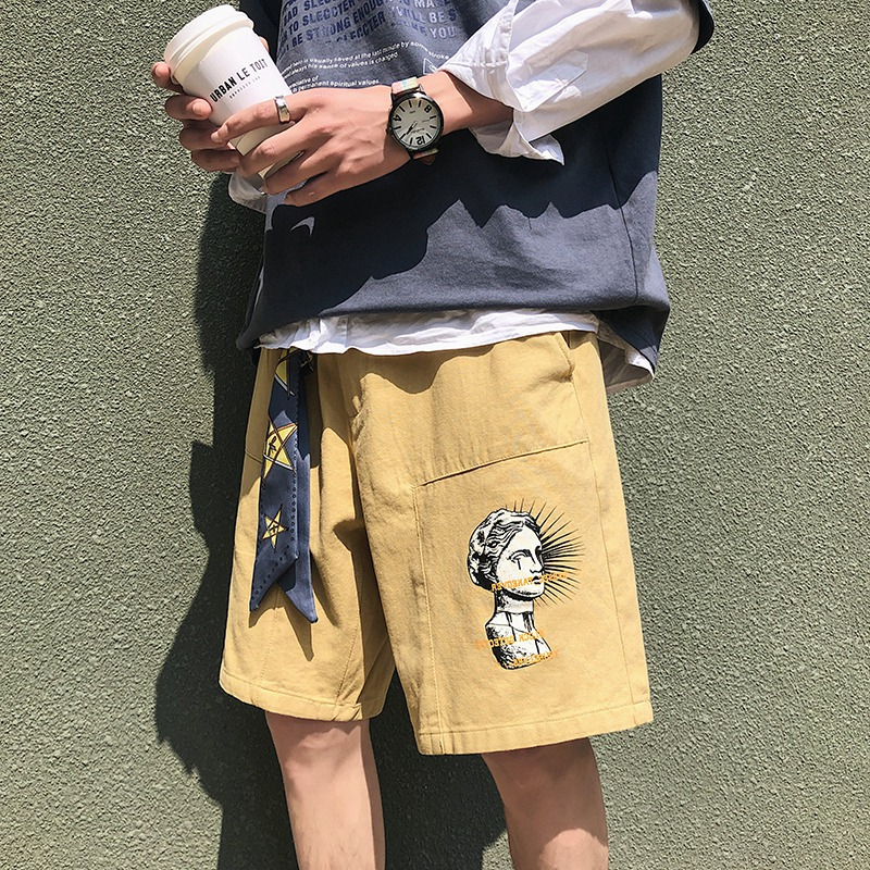 Cotton Bermuda Men Shorts 2020 Summer Fashionable Ribbons Hip Hop Overalls Shorts Cargo Harajuku Design Mans Casual Short Pants