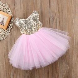 Baby Mädchen Prinzessin Kleid Mädchen Phantasie Hochzeit Kleid Kinder Ärmellose Pailletten Party Geburtstag Taufe Kleid Für Mädchen Sommer Kleider