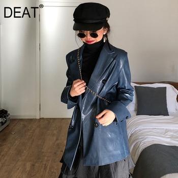 Traje de cuero azul oscuro para mujer 2020 primavera y otoño guapo celebridad en línea Slim fit suit coat