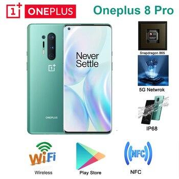 Перейти на Алиэкспресс и купить Глобальный Встроенная память Oneplus 8 pro 5G телефон 6,78 дюйм8/12 Гб 128 / 256 ГБ Snapdragon 865 quad камера заднего вида 48MP 8MP 48MP 5MP с двумя sim-картами