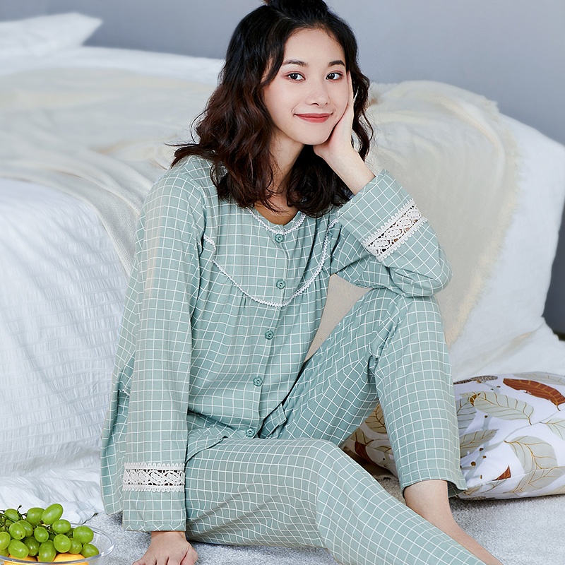 Image 3 - 100% Cotton Pajamas Women PJ 2 Pieces Lounge Sleepwear Bedgown for Ladies 2019 Pink Nightgown Home Clothes Pure Cotton Pajamas-in Pajama Sets from Underwear & Sleepwears