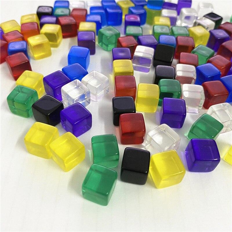 Juego de ajedrez de dados D6 de cristal transparente de 10mm con tamiz de ángulo recto para juegos de mesa de rompecabezas, 100 unidades