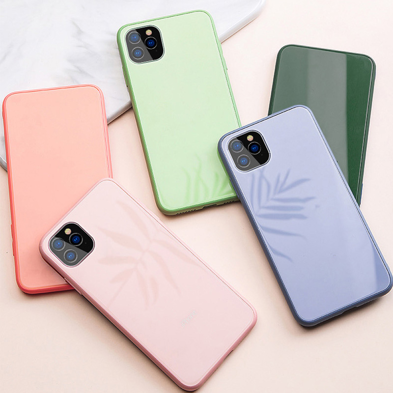 Macaron Solid Color Soft Liquid Silicone Case for iPhone 6 6s 7 8 Plus X XR XS Max 10 11 Pro Max Tempered Glass Cover Original(China)