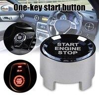 Botón de parada de arranque de motor de coche One-Key piezas de repuesto de coche Modificación de vehículo Silver M8617