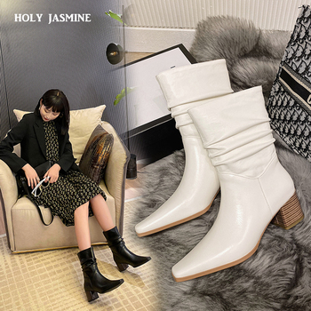 wetkiss 2018 new leather stretch women boots high heels sock bootie winter warm square toe shoes lady autumn high neck footwear Size 34-40 2020 New INS Women Mid-Calf High Heel Boots Lady Riding Botas Warm Winter Shoes Women Sexy Square Toe Casual Footwear