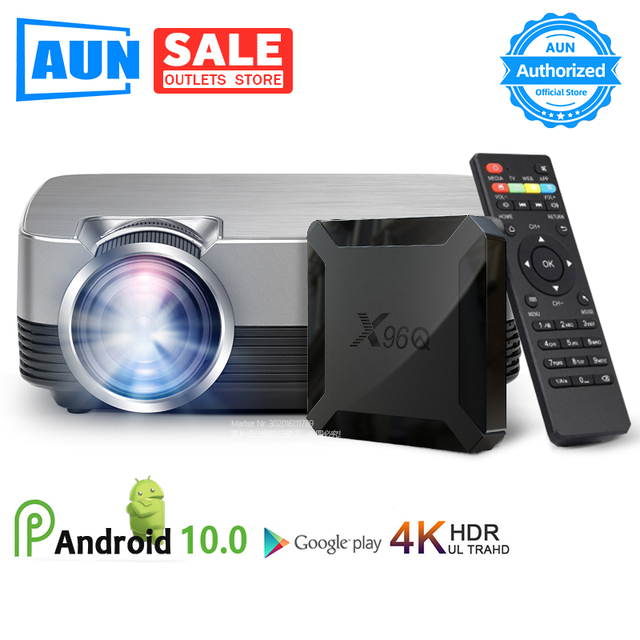 AUN מיני מקרן Q6/s (אופציונלי אנדרואיד 10 טלוויזיה תיבת) 1280x720P וידאו Beamer. נייד 3D וידאו קולנוע תמיכת 1080P, קולנוע ביתי
