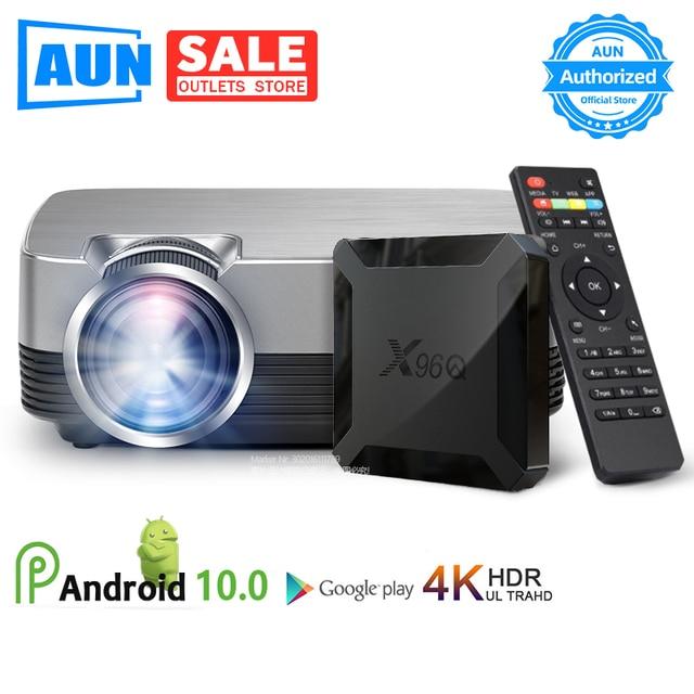 アウンミニプロジェクターQ6/s (オプションのアンドロイド 10 テレビボックス) 1280 × 720 1080pビデオプロジェクター。ポータブル 3Dビデオシネマサポート 1080p、ホームシアター