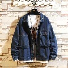 Мода осень-синяя джинсовая куртка мужская вышиванка повседневные куртки мужские уличной моды диких свободные хип-хоп бомбардировщик куртки мужчины м-2XL