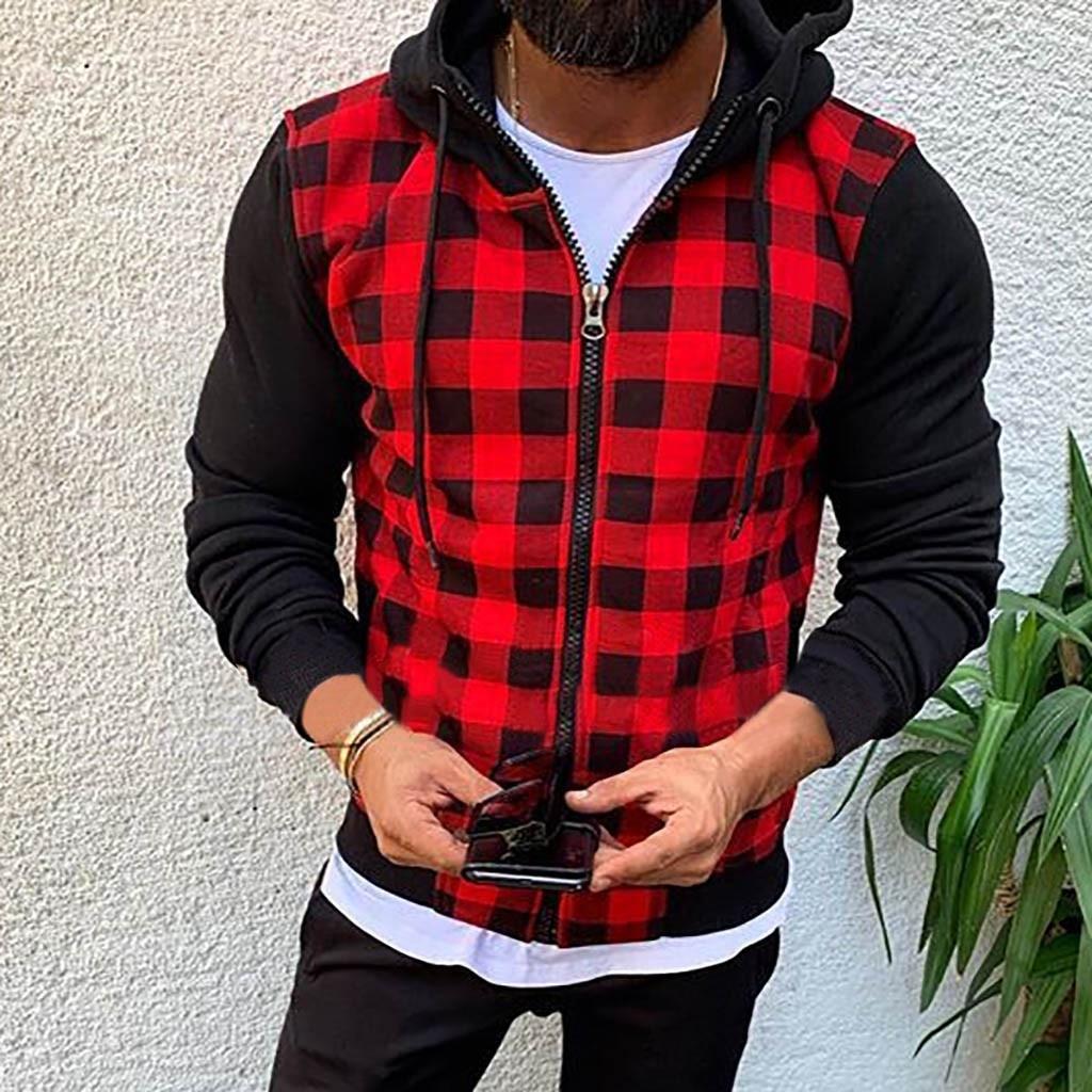 Man Plaid Patchwork Hood Sweatshirt Causal Long Sleeve Shirt Coat Zipper Plus Size M-3XL Hoodies Hoodie Sudadera Hombre Moletom
