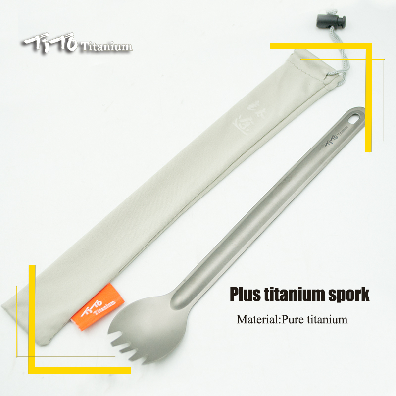 TiTo Titanium Long Handle Spoon Tableware Portable Camping Cutlery Convenient Titanium Spork Environmental Titanium Fork