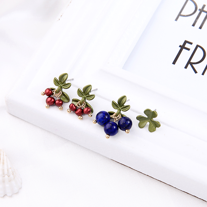 $1Blue Red Berry Drop Earrings Cute Fruit Gold Color Asymmetric Earrings For Women Fashion Jewelry Wholesale