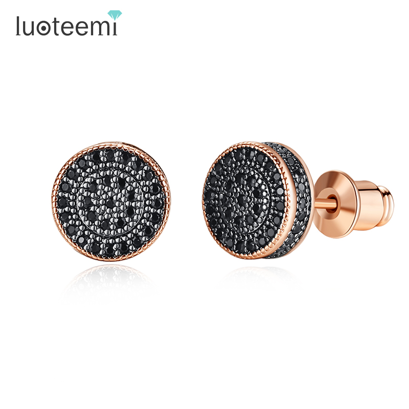 LUOTEEMI Elegant Small Round Stud Earrings For Women Dating AAA Black/White Cubic Zircon Three Color Fashion Jewelry Gift