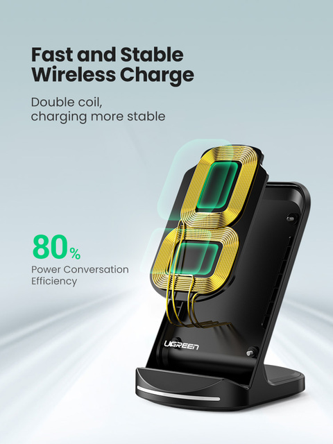 Ugreen Qi Wireless Charger Stand for iPhone 12 Pro X XS 8 XR Samsung S9 S10 S8 S10E Fast Wireless Charging Station Phone Charger 3