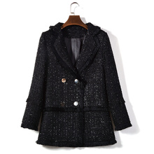 HAMALIEL High Quality Ladies Turn Down Collar Tweed Jacket Coat 2019 Fall Winter