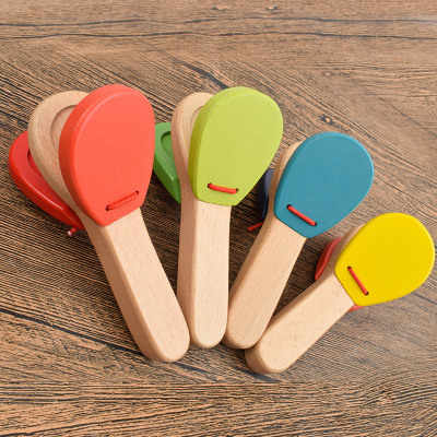 Wooden Percussion Handle Clapping Castanets Board for Baby Musical Instrument Preschool Early Educational Toys